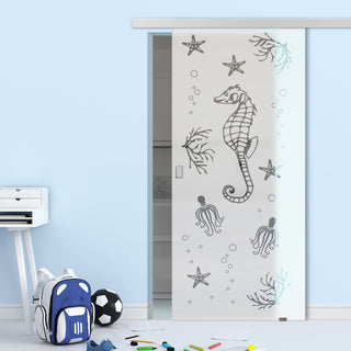 Image: Single Glass Sliding Door - Seahorse 8mm Obscure Glass - Clear Printed Design with Premium Track