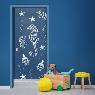 Image: Seahorse 8mm Clear Glass - Obscure Printed Design - Single Evokit Glass Pocket Door
