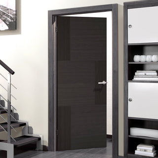 Image: Seis Charcoal Black Flush Fire Door - 30 Minute Fire Rated - Prefinished