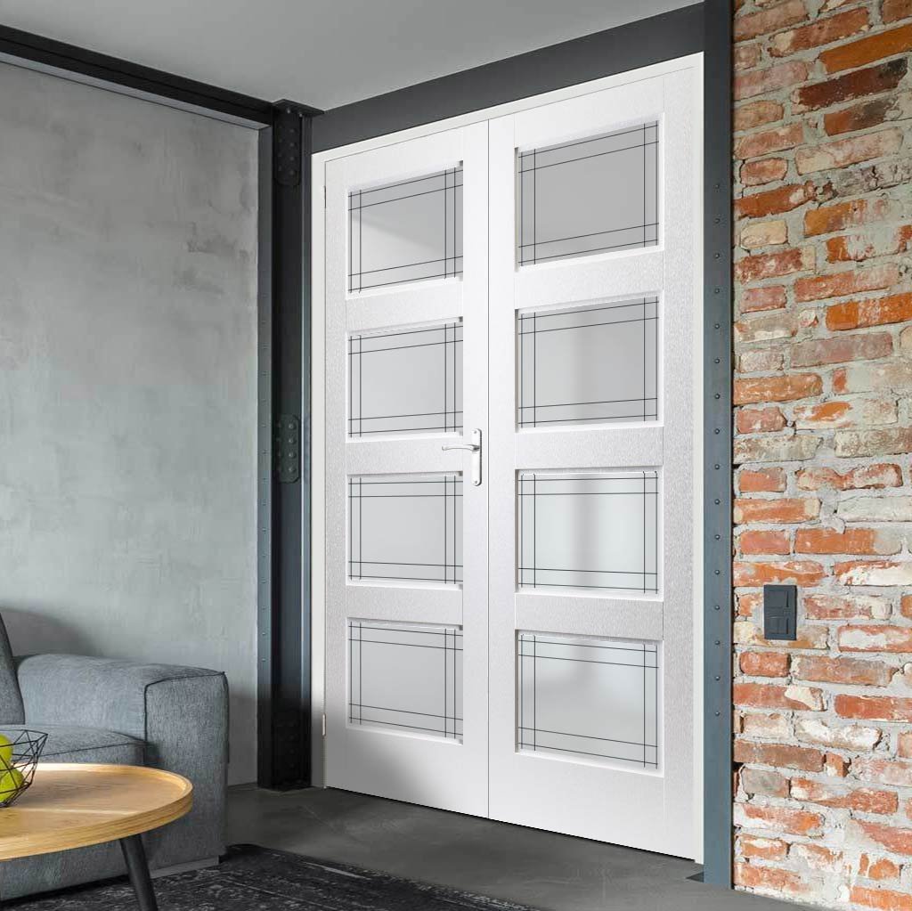 Selkirk Lightly Grained PVC Door Pair - Ayr Style Sandblasted Glass