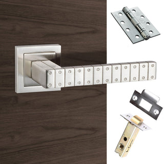 Image: Senza Pari Bianca Fire Lever on Square Rose - Satin Nickel Handle Pack