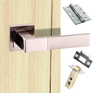 Image: Senza Pari Casalli Fire Lever on Square Rose - Satin Nickel Handle Pack