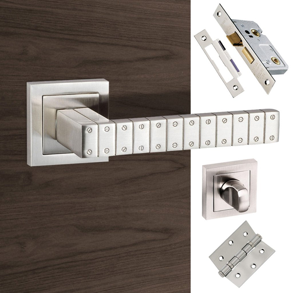 Senza Pari Bianca Bathroom Lever on Square Rose - Satin Nickel Handle Pack
