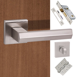 Image: Senza Pari Davoli Bathroom Lever on Flush Rose - Satin Nickel Handle Pack
