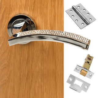 Image: Senza Pari Crystal Fire Lever on Round Rose CR - Polished Chrome Handle Pack