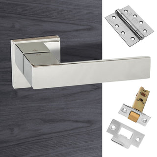 Image: Senza Pari Panetti Fire Lever on Flush Rose - Polished Chrome Handle Pack