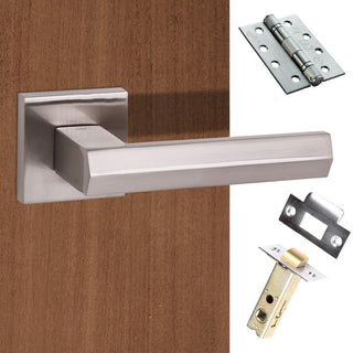 Image: Senza Pari Davoli Fire Lever on Flush Rose - Satin Nickel Handle Pack