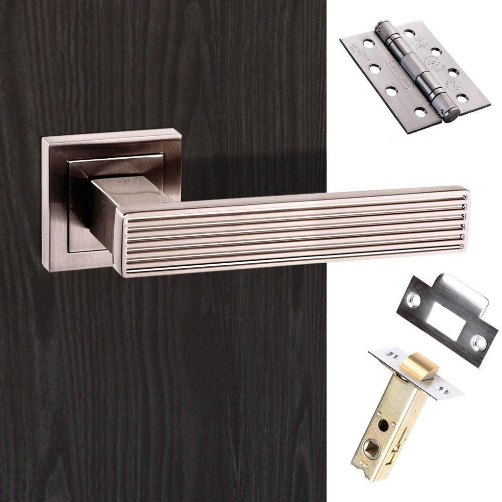 Senza Pari Dritto Fire Lever on Square Rose - Satin Nickel Handle Pack