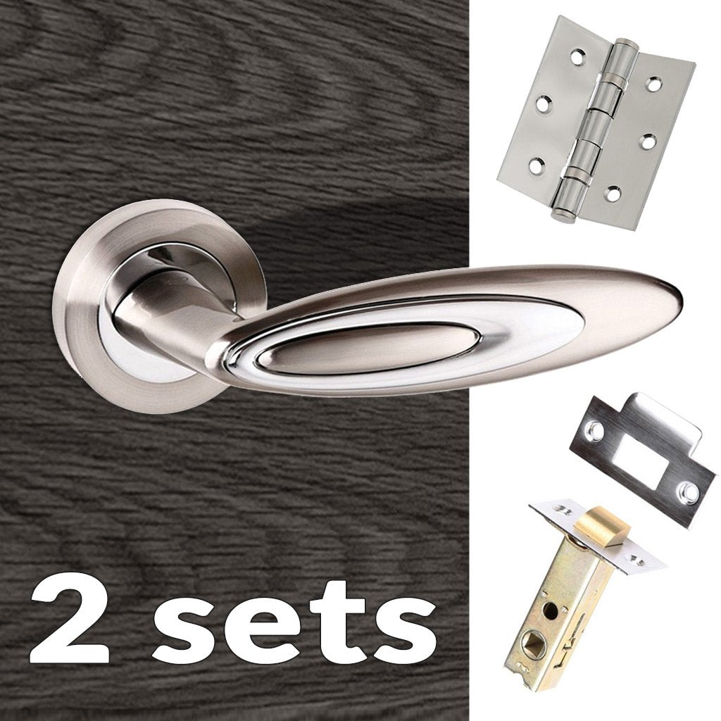 Two Pack Senza Pari Elisse Lever on Rose - Satin Nickel - Polished Chrome Handle