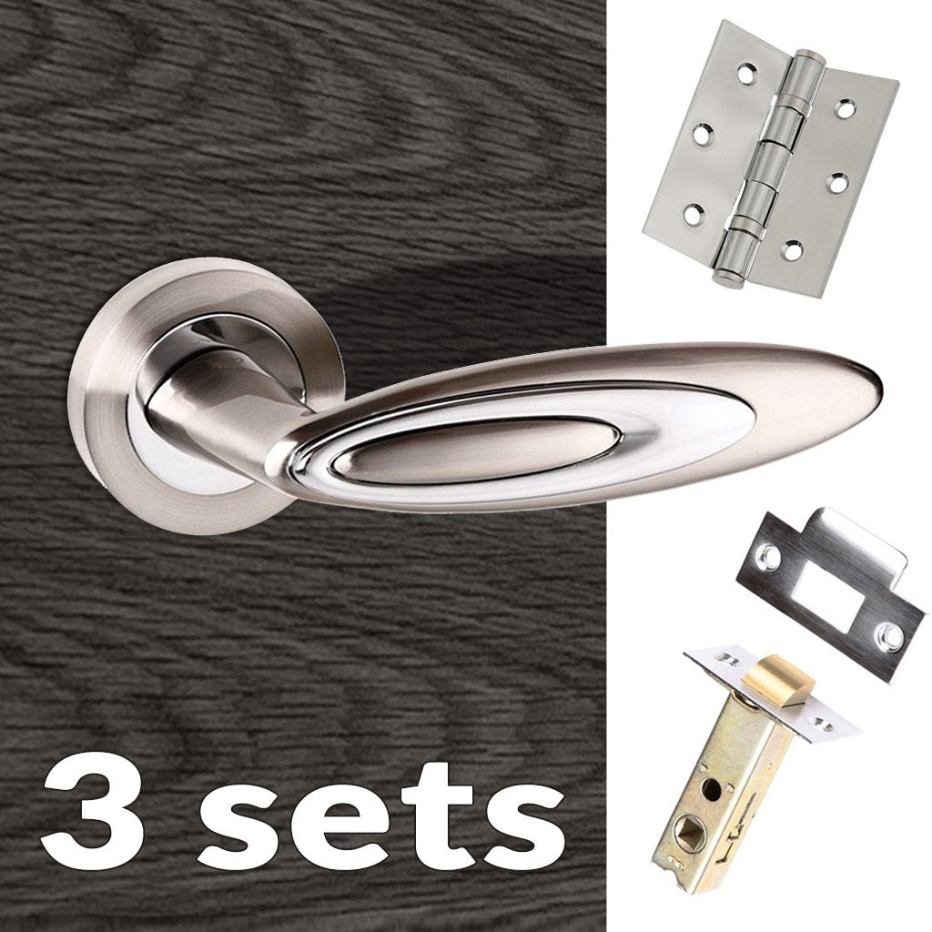 Three Pack Senza Pari Elisse Lever on Rose - Satin Nickel - Polished Chrome Handle