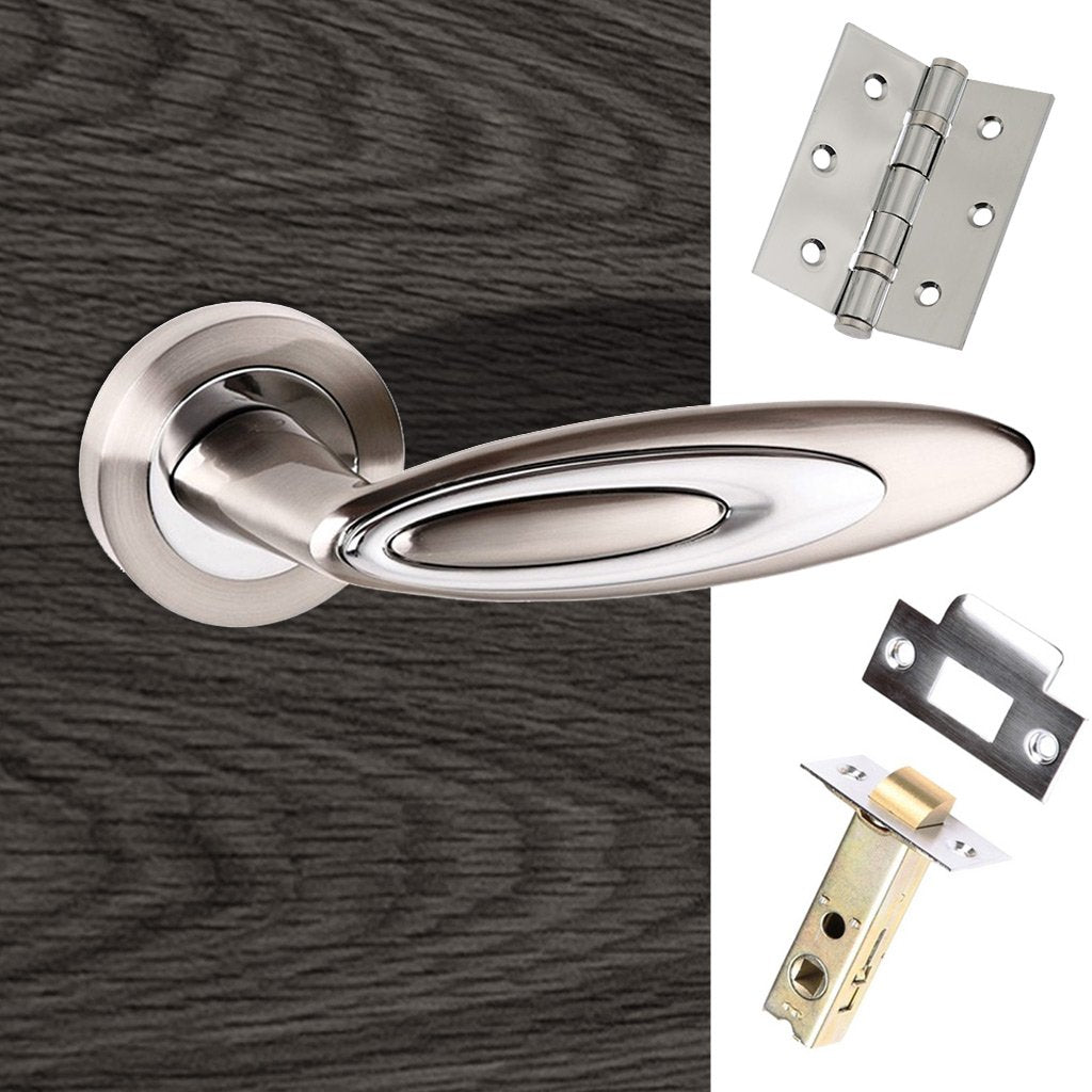 Senza Pari Elisse Lever on Rose - Satin Nickel - Polished Chrome Handle Pack