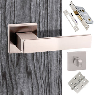 Image: Senza Pari Panetti Bathroom Lever on Flush Rose - Polished Chrome Handle Pack