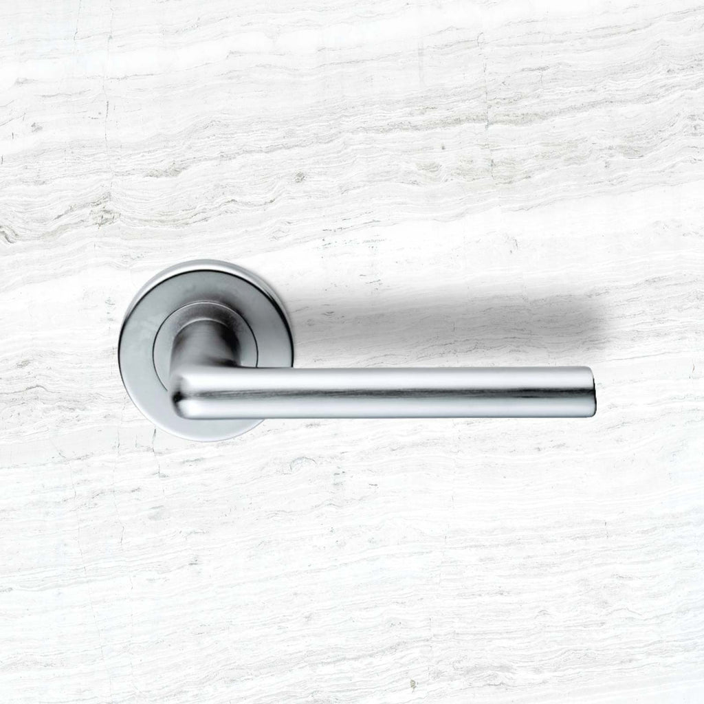 Serozzetta Uno SZC010 Lever Latch Handles on Round Rose - 2 Finishes