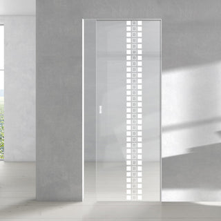 Image: Seton 8mm Clear Glass - Obscure Printed Design - Single Absolute Pocket Door