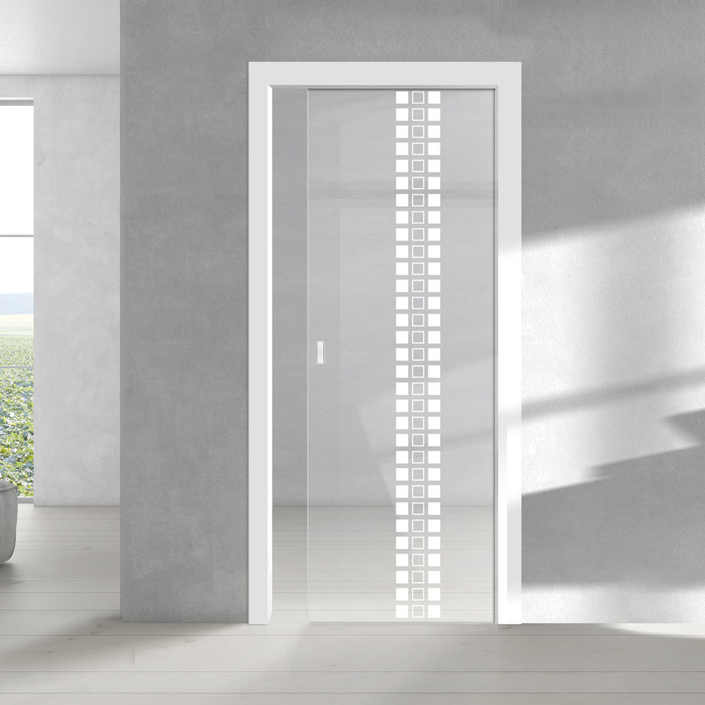 Seton 8mm Clear Glass - Obscure Printed Design - Single Evokit Glass Pocket Door