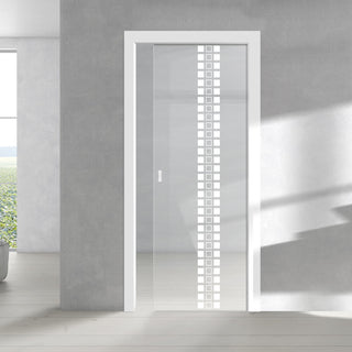 Image: Seton 8mm Clear Glass - Obscure Printed Design - Single Evokit Glass Pocket Door