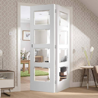 Image: Two Folding Doors & Frame Kit - Severo White 4 Pane 2+0 - Clear Bevelled Glass - Prefinished