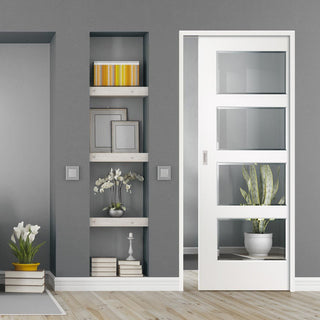 Image: Severo White 4 Pane Single Evokit Pocket Door - Clear Bevelled Glass - Prefinished
