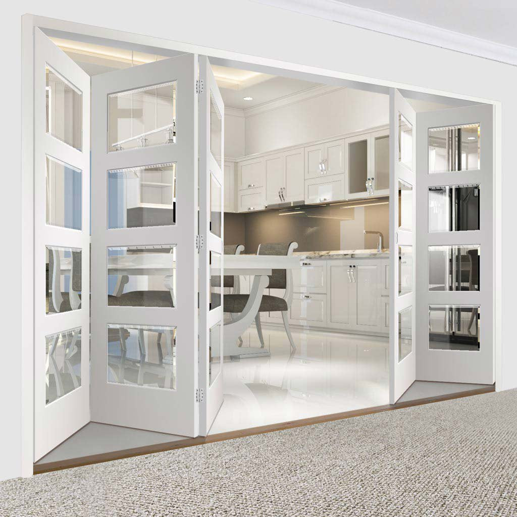 Five Folding Doors & Frame Kit - Severo White 4 Pane 3+2 - Clear Bevelled Glass - Prefinished