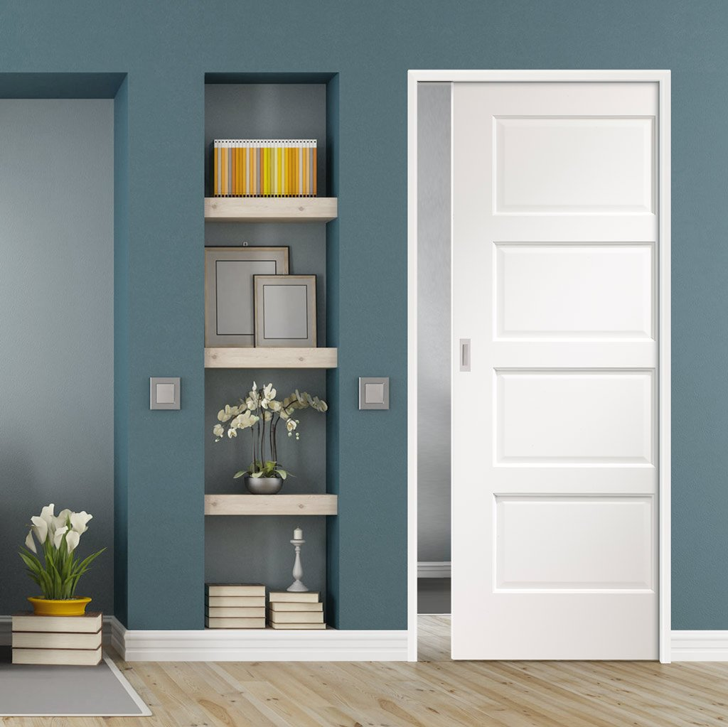 Severo White 4 Panel Single Evokit Pocket Door - Prefinished