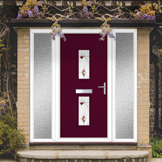Image: Cottage Style Seville 2 Composite Door Set with Double Side Screen - Kupang Red Glass - Shown in Purple Violet