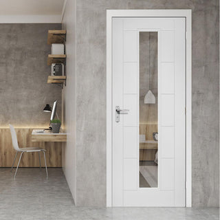 Image: Deanta Seville White Primed Door with Clear Glass, 1/2 Hour Fire Rated