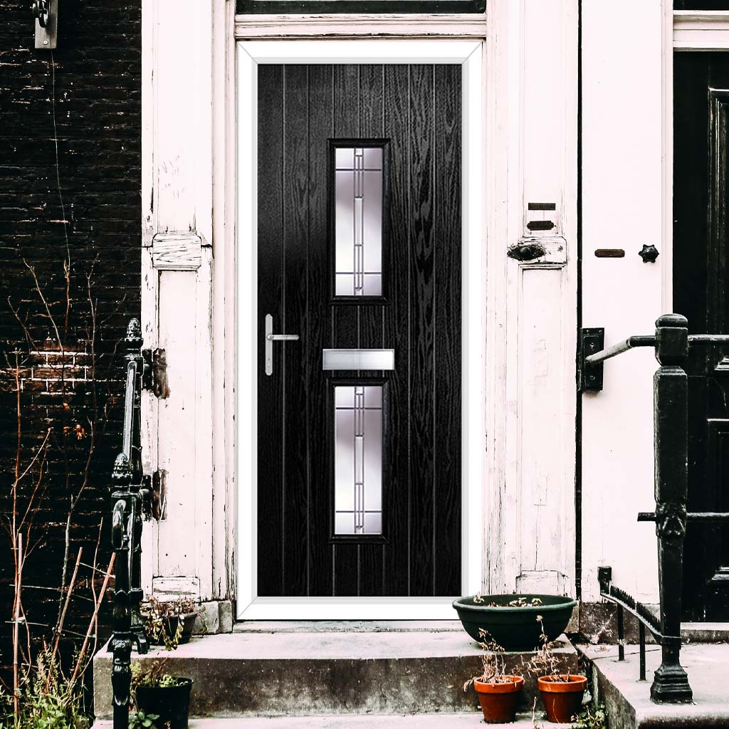 Cottage Style Seville 2 Composite Door Set with Barite Glass - Shown in Black