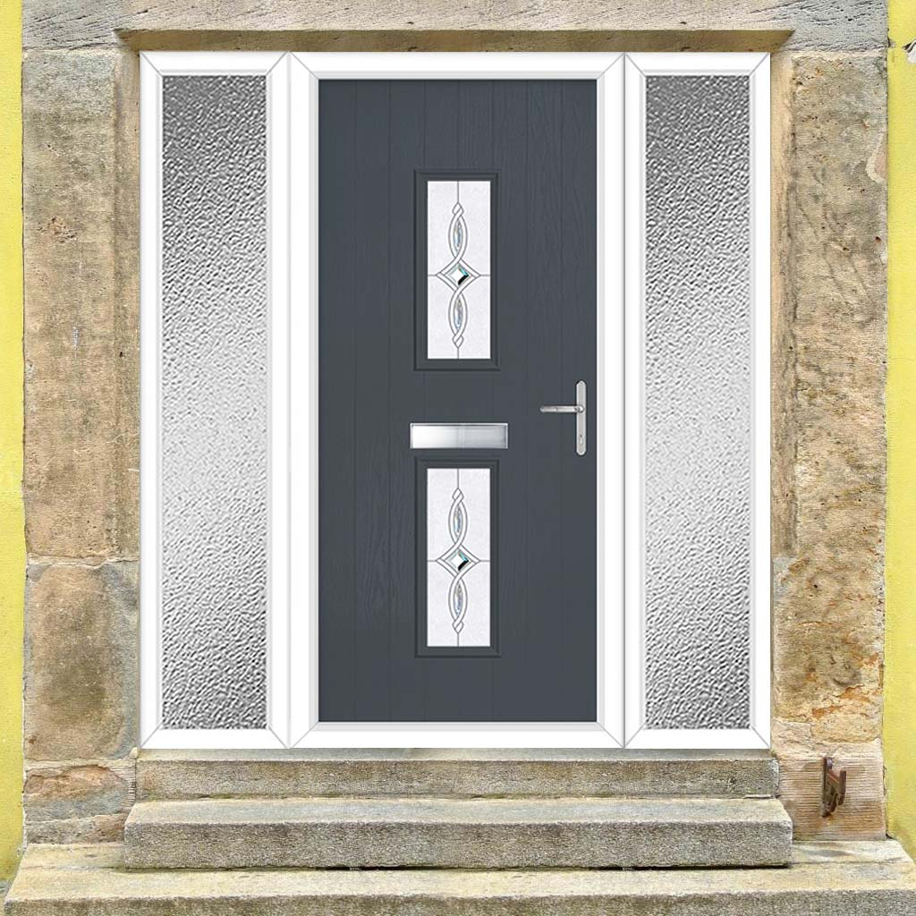 Cottage Style Seville 2 Composite Door Set with Double Side Screen - Pusan - Shown in Slate Grey