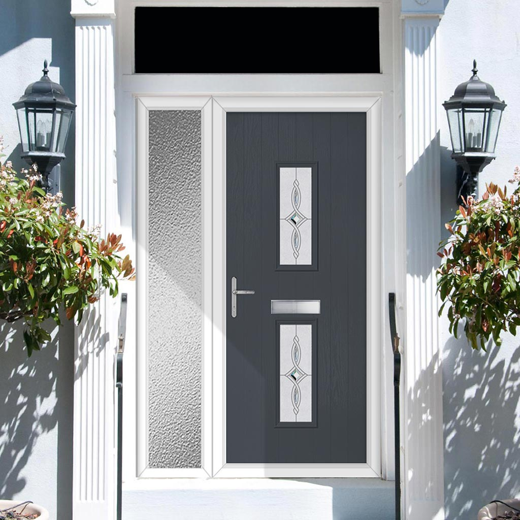 Cottage Style Seville 2 Composite Door Set with Single Side Screen - Pusan Glass - Shown in Slate Grey