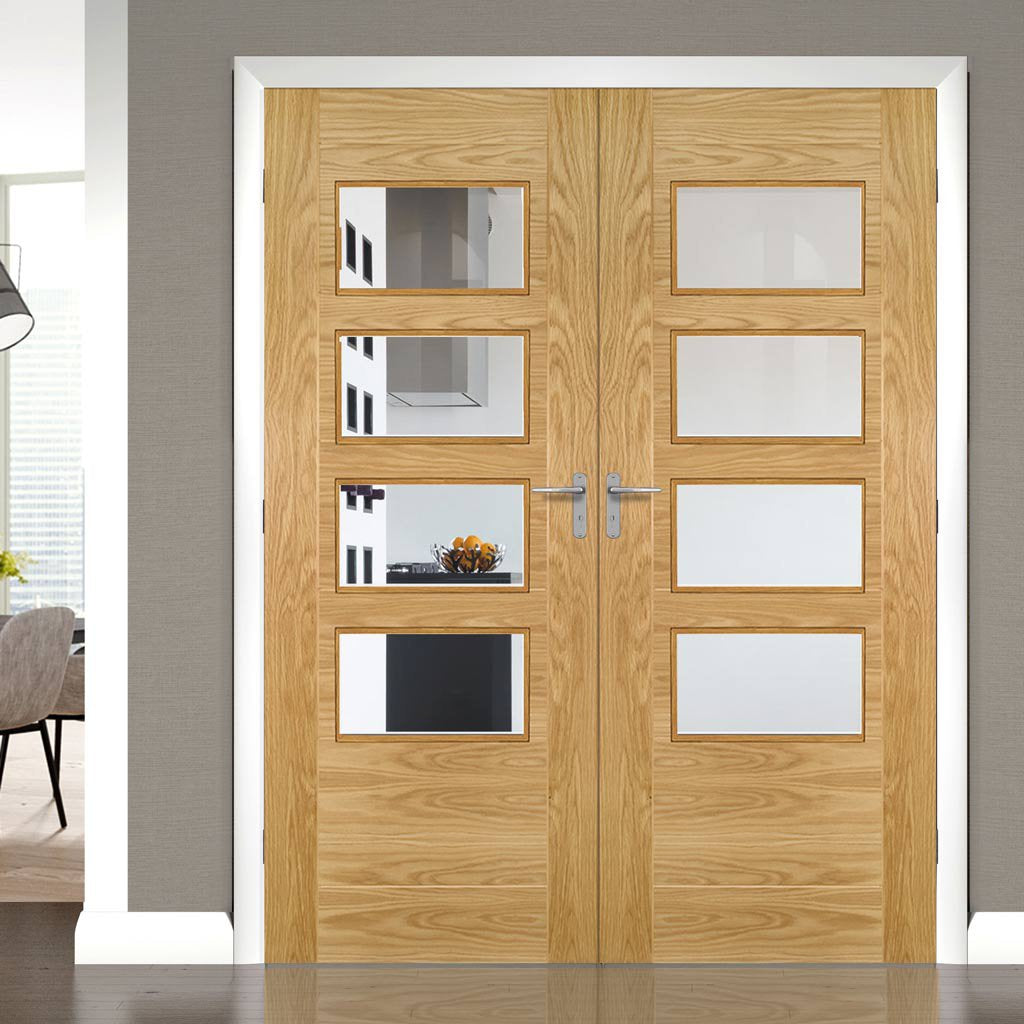 Seville 4L Glazed Oak Door Pair - Prefinished