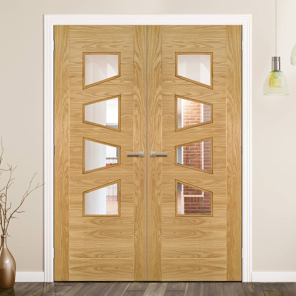 Seville 4LS Glazed Oak Door Pair - Irregular Glass Panes -  Prefinished