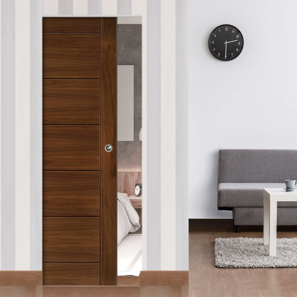 Seville Walnut Absolute Evokit Single Pocket Door - Prefinished