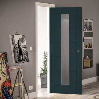 Image: Prefinished Graphite Grey Colour Seville Door - Clear Glass