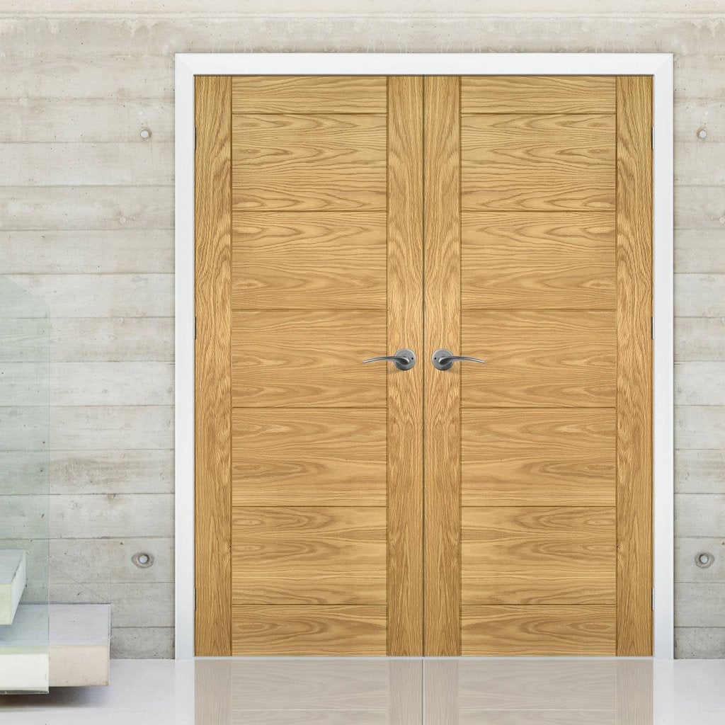 Seville Oak Panel Door Pair - Prefinished