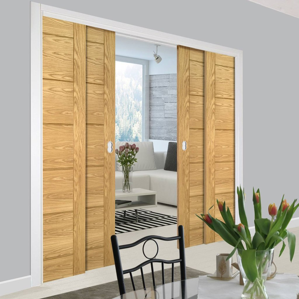 Seville Oak Panel Staffetta Quad Telescopic Pocket Doors - Prefinished