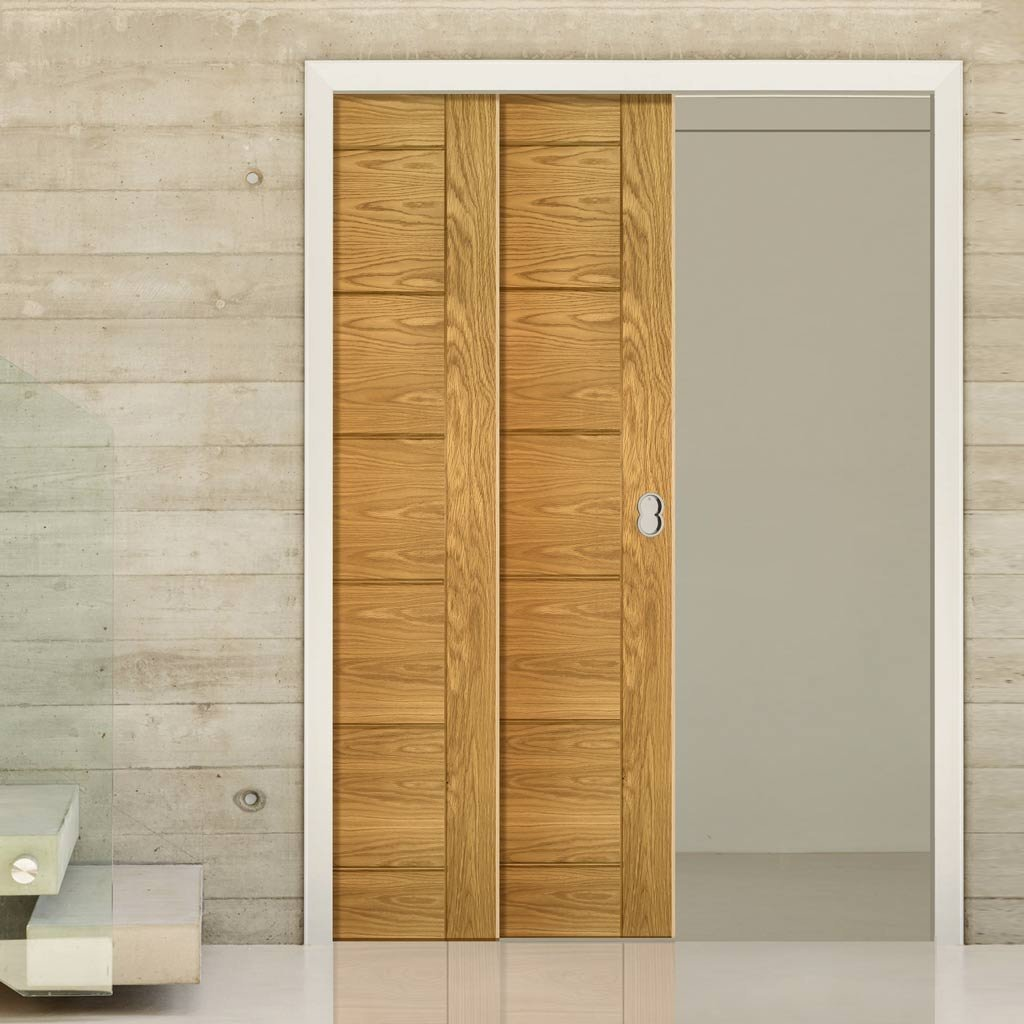Seville Oak Veneer Panel Staffetta Twin Telescopic Pocket Doors - Prefinished