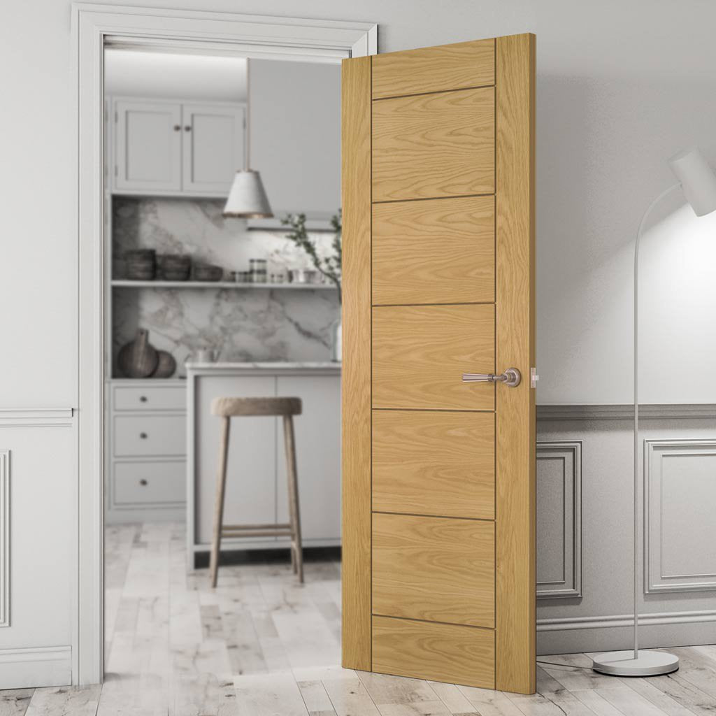 Seville Oak Panel Door - Prefinished from Deanta UK