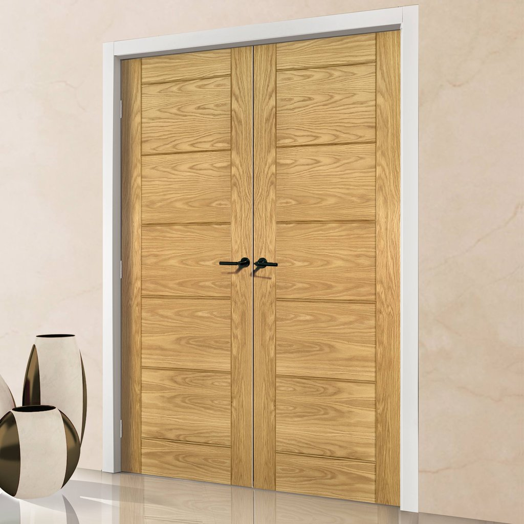 Seville Oak Panel Fire Door Pair - 1/2 Hour Fire Rated - Prefinished