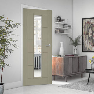 Image: Prefinished Pebble Grey Colour Seville Door - Clear Glass