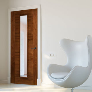 Image: Seville Walnut Door - Clear Glass