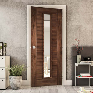 Image: Seville Walnut Fire Door - Clear Glass - 1/2 Hour Fire Rated - Prefinished
