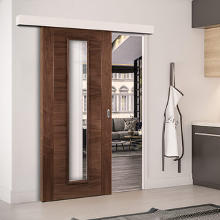 Image: Single Sliding Door & Wall Track - Seville Walnut Door - Clear Glass