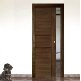 Image: Seville Walnut Single Evokit Pocket Door - Prefinished