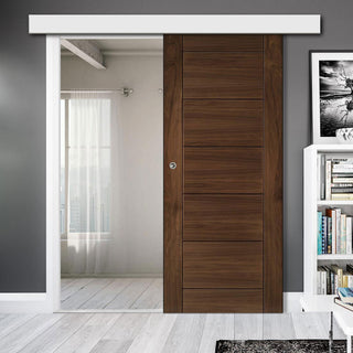 Image: Single Sliding Door & Wall Track - Seville Prefinished Walnut Door