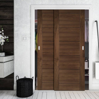 Image: Two Sliding Wardrobe Doors & Frame Kit - Seville Prefinished Walnut Door