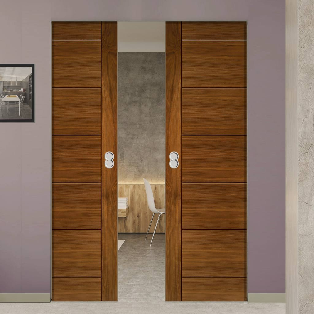 Seville Walnut Absolute Evokit Double Pocket Doors - Prefinished