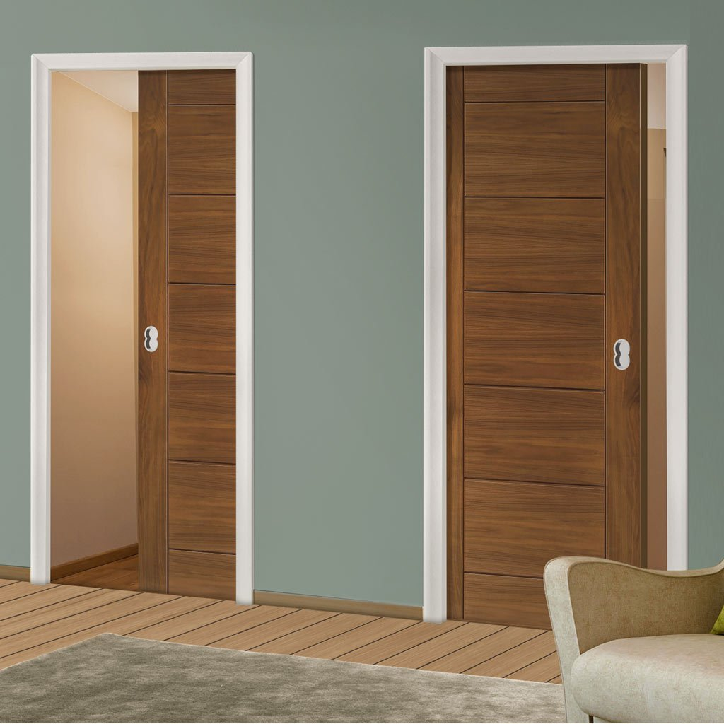Seville Walnut Unico Evo Pocket Doors - Prefinished