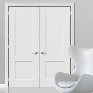 Image: Shaker 2 Panel Lightly Grained PVC Door Pair