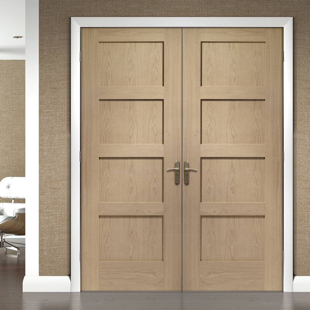 Bespoke Shaker Oak 4 Panel Door Pair - 1/2 Hour Fire Rated - Prefinished