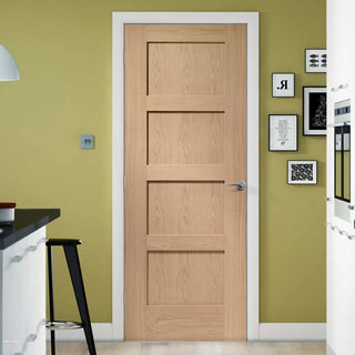 Image: Fire Rated Shaker 4 Panel Oak Door - 1/2 Hour Fire Rated